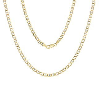 Sterling Essentials 14k Italian Two-tone 5mm Pave Anchor Gold Chain (18-24 Inch)