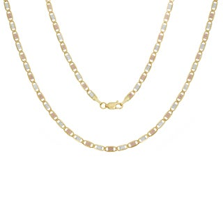 Sterling Essentials 14k Italian 3mm Tri-colored Valentino Gold Chain (18-24 Inch)