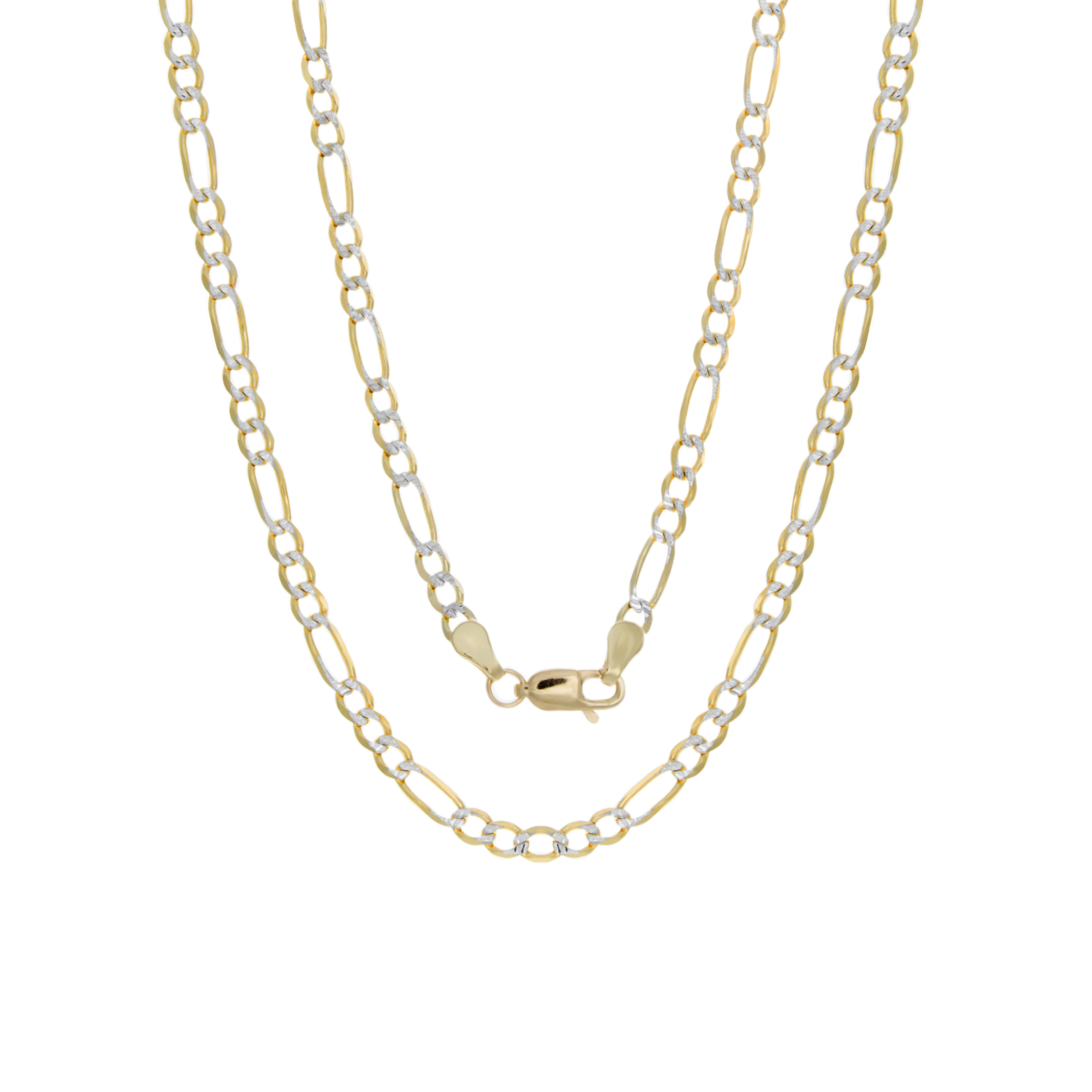 Sterling Essentials 14k Italian 3mm Pave Figaro Gold Chai...