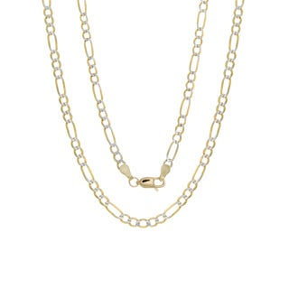 Sterling Essentials 14k Italian 3mm Pave Figaro Gold Chain (20-24 Inch)