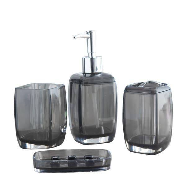 Bath Bliss Contemporary Acrylic 4 Piece Bathroom Accessory Set - Multiple Sizes Available