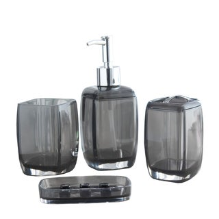 Bath Bliss Contemporary Acrylic 4 Piece Bathroom Accessory Set - Multiple Sizes Available