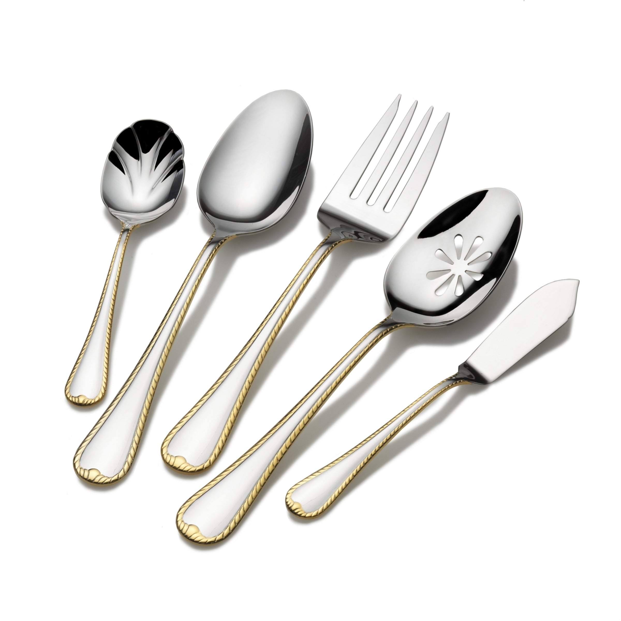 Gold Accent Cameo 65 Piece Flatware Set