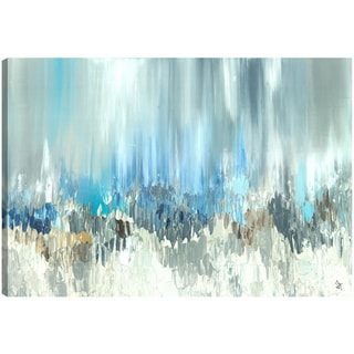 Hobbitholeco. Sanjay Patel, Blue Visuals, Abstract, Gel Brush Finish Canvas Wall Art Decor, Gallery Wrapped 30X40