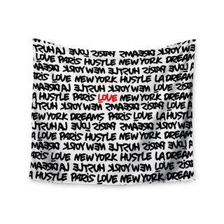 Kess InHouse Just L 'Lux Writing Wth Blk Red' 51x60-inch Wall Tapestry