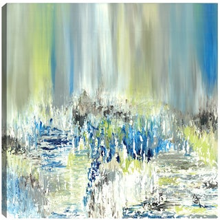 Hobbitholeco. Sanjay Patel, Summer Pond Visuals, Abstract, Gel Brush Finish Canvas Wall Art Decor, Gallery Wrapped 36X36