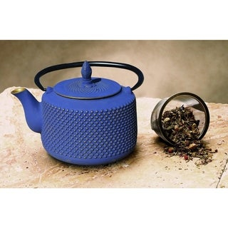 Old Dutch Matsukasa Deep Blue/Gold Cast Iron 27-ounce Teapot