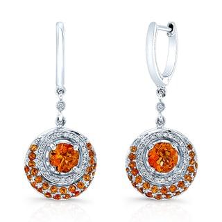 14k White Gold Citrine 1/4ct TDW Diamond Drop Earrings (H-I, VS)
