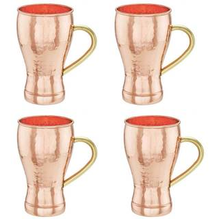 Old Dutch Soda Fountain Style Hammered Brown Solid Copper 14-ounce Moscow Mule Mugs (Pack of 4)