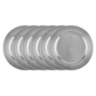 Old Dutch Silver Stainless Steel 16-inch Hammered Rim Charger Plate (Pack of 6)