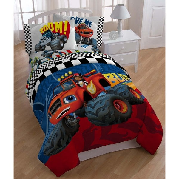 Nickelodeon Blaze Fast Track Twin Size Bed In A Bag With