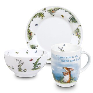 Konitz Waechtersbach Love-themed White Porcelain Children Mug, Plate, and Bowl Set