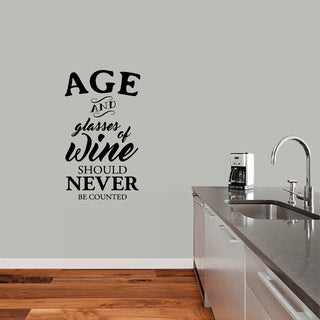 Sweetums 'Age and Glasses of Wine' 21-inch x 36-inch Wall Decal