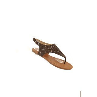 Hadari Women's Black Thong Sandal with Geometric Cutouts and Gold Accessories (5 options available)