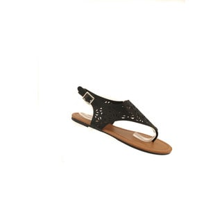 Hadari Women's Black Thong Sandal with Geometric Cutouts and Gold Accessories