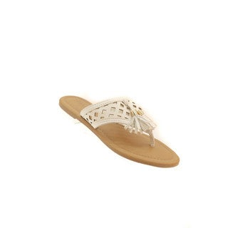 Hadari Women's Tassel flip-flops with Geometric Cutouts