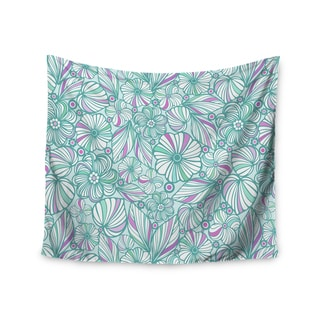 Kess InHouse Julia Grifol 'My Turquoise Flowers' Teal Pink51x60-inch Wall Tapestry
