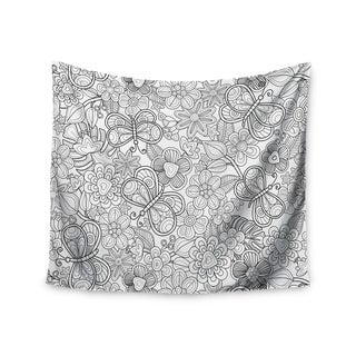 Kess InHouse Julia Grifol 'My Butterflies and Flowers in Black' 51x60-inch Wall Tapestry