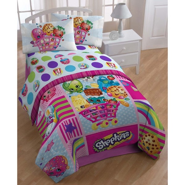 shop moose shopkins patchwork style twin size 5 piece bed in a bag set free shipping today. Black Bedroom Furniture Sets. Home Design Ideas