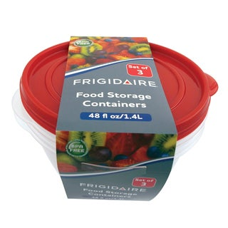 Frigidaire Clear Plastic 8.6-inch Round Storage Container with Lids (Pack of 3)