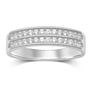 Unending Love 10k White Gold 1/4ct TDW 2 Row Channel Milgrain Wedding band