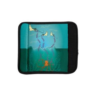 KESS InHouse Famenxt 'Octopus Flying Manta Rays' Teal Green Luggage Handle Wrap
