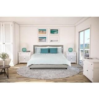 Avenue Greene Mileto Grey Linen Modern Upholstered King Bed