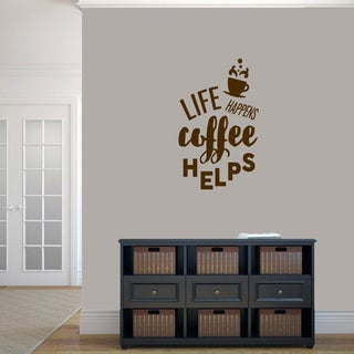 Sweetums 'Life Happens Coffee Helps' 22-inch x 36-inch Wall Decal