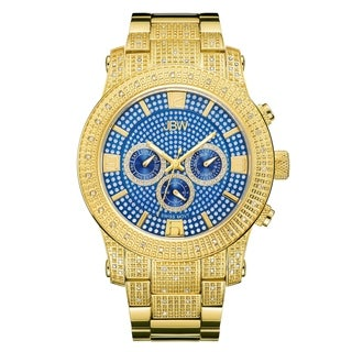 JBW Men's Lynx J6336C 18k Gold-plated Stainless Steel Blue Dial Multi-function Diamond Watch