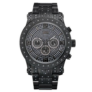 JBW Men's Black Ion-plated Stainless Steel Diamond Watch