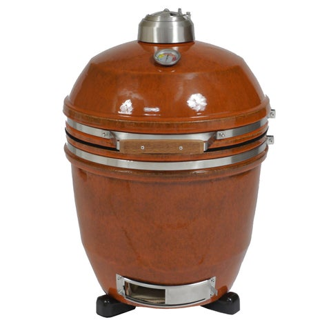 Hanover Kamado Orange Stainless Steel/Ceramic 19-inch 285-square inch Cook Space Grill with Build Kit