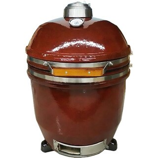 Hanover Red Ceramic and Stainless Steel 19-inch Kamado Charcoal Grill with 285 Square Inches of Cook Space and Build Kit
