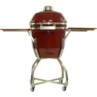 Hanover Red Ceramic 19-inch Kamado Charcoal Grill with 285 Square Inches of Cook Space and Cart and Shelves