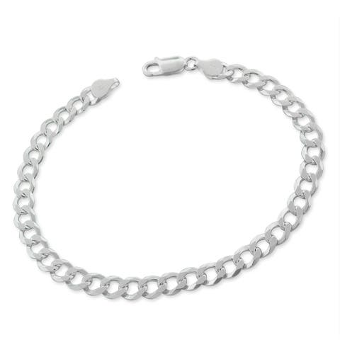 """Authentic Solid Sterling Silver 6mm Cuban Curb Link .925 ITProLux Bracelet Chain 9"""", Made In Italy"""