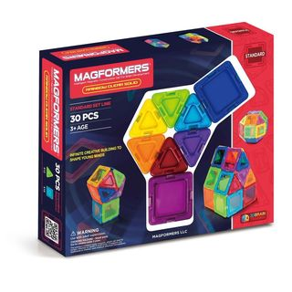 Magformers Rainbow Clear Solid Plastic 30-piece Magnetic Building Set