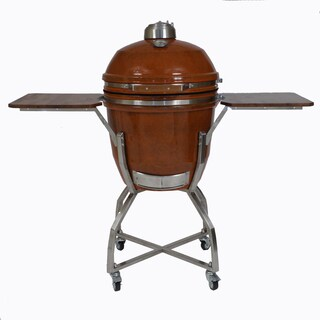 Hanover Kamado Orange Stainless Steel/Ceramic 19-inch Grill with Cart, Shelves, Grill Cover