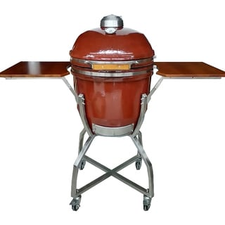 Hanover Kamado Red Ceramic 19-inch Grill with Cart, Shelves, and Grill Cover