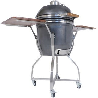 Hanover Kamado Ceramic 19-inch Grill with Cart, Shelves, and Grill Cover