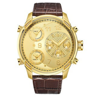JBW Men's Goldtone Stainless Steel with Diamond Accent Brown Leather Time Zone Watch
