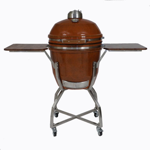 Hanover 19-inch Ceramic Kamado Grill With Cart/Shelves/Access Package