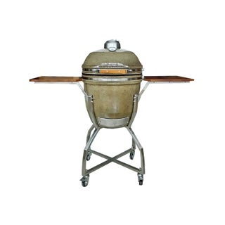 Hanover Kamado Brown Stainless Steel/Ceramic 19-inch Grill with Cart, Shelves and Access Package