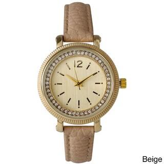 Olivia Pratt Mineral/Leather/Stainless Steel Women's Elegant Petite Rhinestone Watch (Option: Beige)