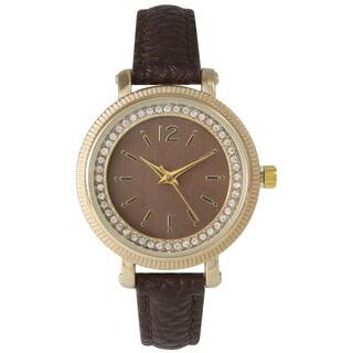 Olivia Pratt Mineral/Leather/Stainless Steel Women's Elegant Petite Rhinestone Watch