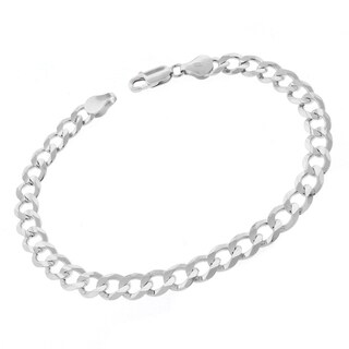 .925 Sterling Silver 7-millimeter x 9-inch Solid Cuban Curb-link ITProLux Bracelet Chain
