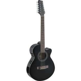 Stagg SA40MJCFI/12-BK Black Mini Jumbo Cutaway 12-string Acoustic-electric Concert Guitar|https://ak1.ostkcdn.com/images/products/12106851/P18968637.jpg?impolicy=medium