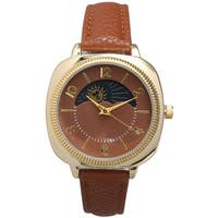 Olivia Pratt Women's Heavenly Bodies Brown/Beige/Black Leather/Mineral/Metal/Stainless Steel Watch