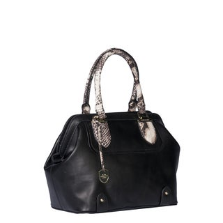 London Fog Devoe Black PVC Frame Satchel