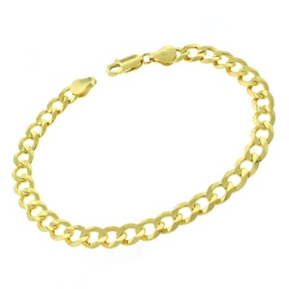 0.925 Sterling Silver 7-millimeter Solid Cuban Curb Link Gold Plated ITProLux 9-inch Bracelet Chain