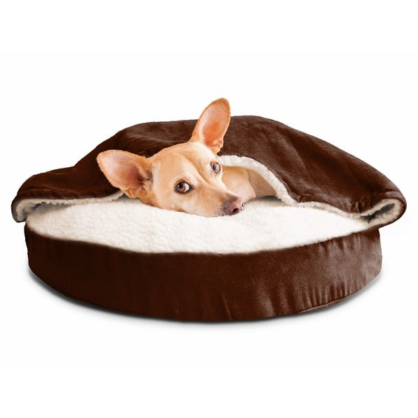 furhaven faux sheepskin snuggery burrow orthopedic pet bed free shipping on orders over 45