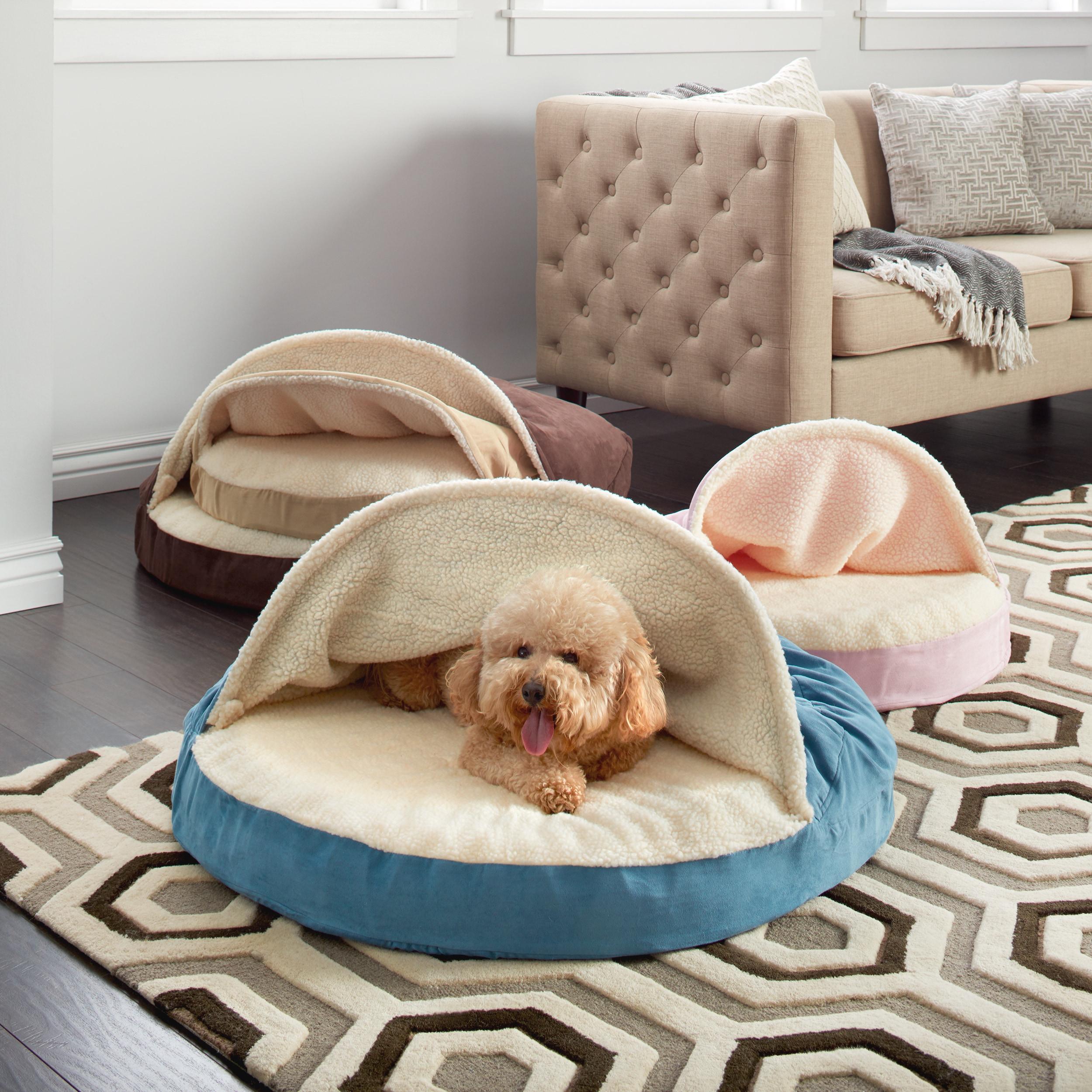FurHaven Faux Sheepskin Snuggery Burrow Orthopedic Dog Be...